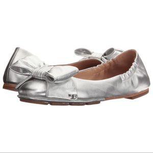 NEW Tory Burch Divine Bow Ballet Flats Silver